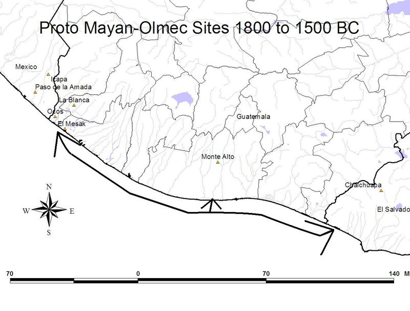 Mayan Olmec sites 1800 BC - Mexico, Guatemala, El Salvador map